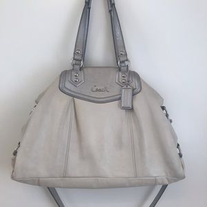 Coach Satchel Off White Silver